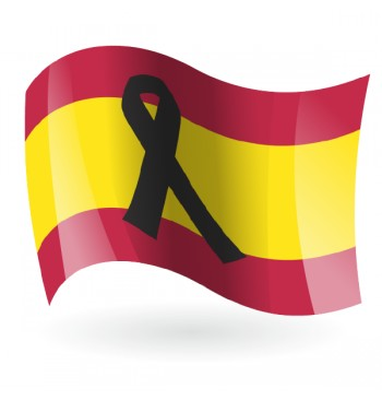 Bandera de España con crespón negro