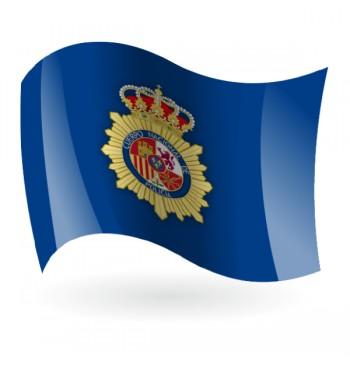 Bandera de la Policía Nacional fondo azul